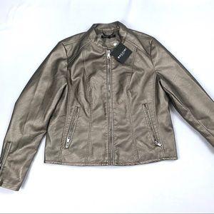 Baccini Women's Bronze Faux Leather Jacket Size PL